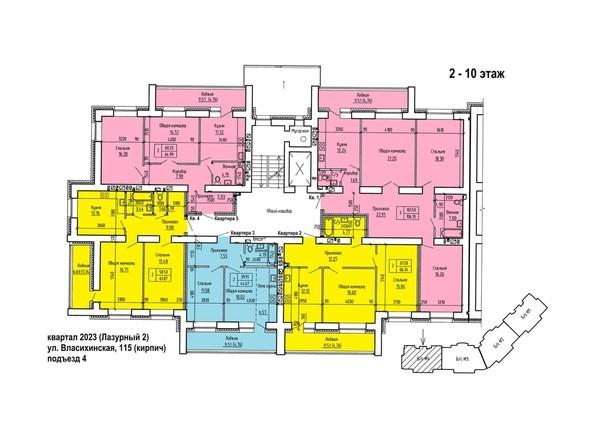Планировки Жилой комплекс ЛАЗУРНЫЙ-2, дом 1 - Планировка типового этажа, 4 б/с