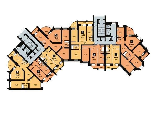 Планировки Копылова, 5 дом, 1 оч - Планировка 8 этажа