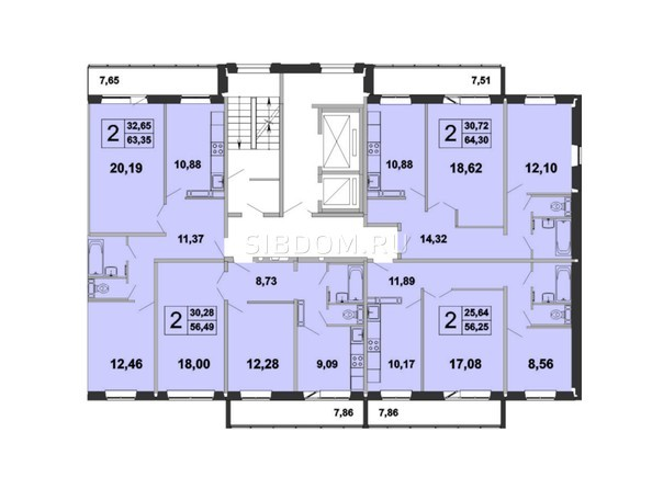 Планировки Жилой комплекс ЗЕЛЁНЫЕ ГОРКИ, КПД-5 - Планировка типового этажа, 4 б/с