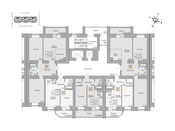 Блок-секция 2. Планировка 1-5 этажей