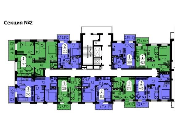Секция 2. Планировка типового этажа.