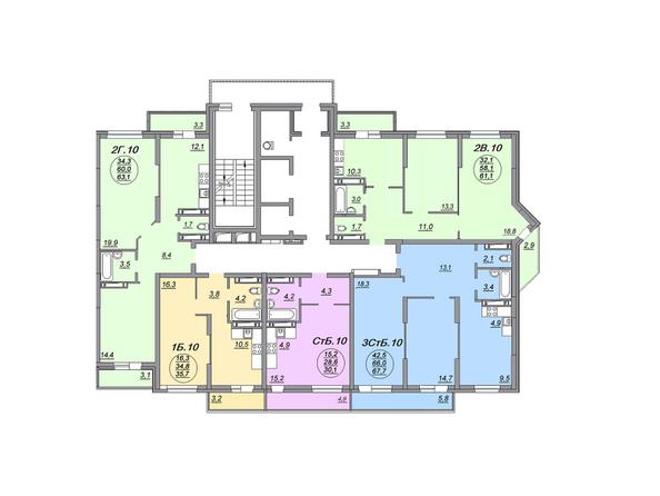 Планировки Жилой комплекс МАТРЕШКИН ДВОР 105, дом 2, 1 этап - Блок-секция 1. Планировка 23 этажа