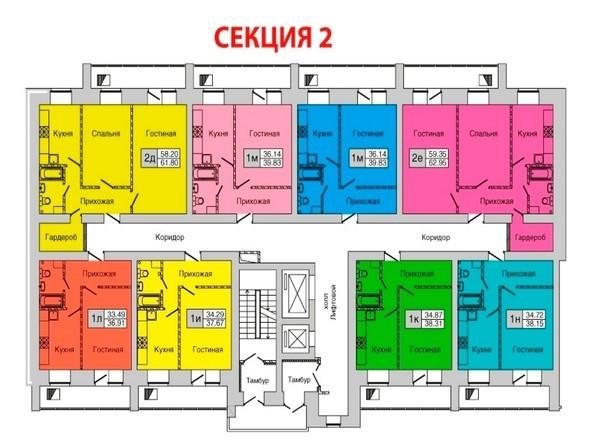 Планировки Жилой комплекс ЗАПАДНЫЙ, дом 1, 4 этап - Секция 2