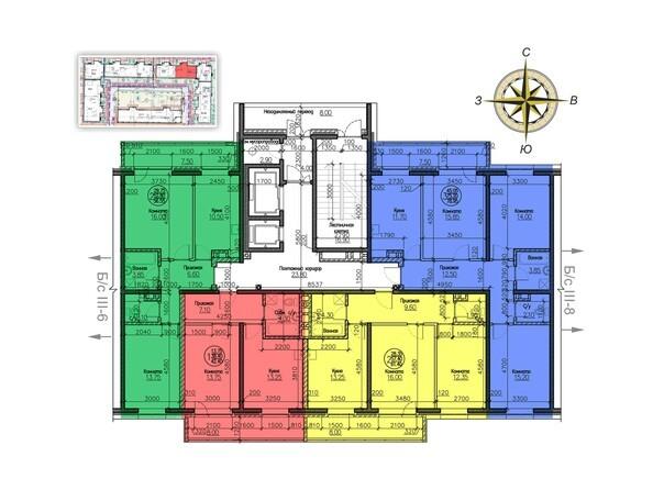 Блок-секция 7. Планировка типового этажа