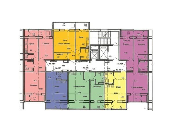 План 2-17 этажей, 2 б/с