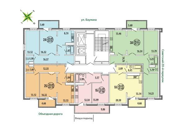 Блок-секция 4-7. Планировка типового этажа