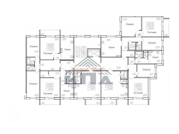 Планировки Жилой комплекс МОДЕРН-2, стр 10, 2 этап - Планировка типового этажа