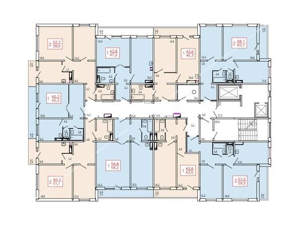 Планировки Жилой комплекс ТИХИЕ ЗОРИ, дом 6 - Планировка 10-16 этажей