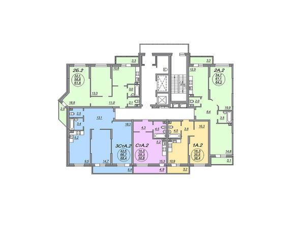 Планировки Жилой комплекс МАТРЕШКИН ДВОР 105, дом 2, 1 этап - Блок-секция 2. Планировка 2-4 этажей