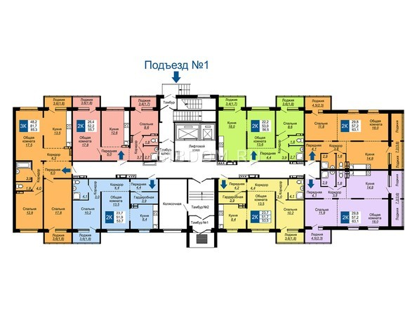 Планировки Жилой комплекс НА ГЕРЦЕНА, дом 1 - Подъезд 1. Планировка 1 этажа