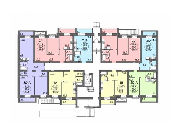 Планировки Жилой комплекс СВОБОДА, дом 8 - Подъезд 3. Планировка 1 этажа