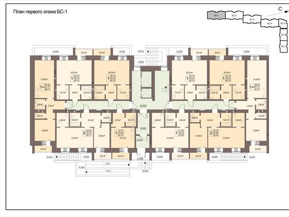 Блок-секция 1. Планировка первого этажа
