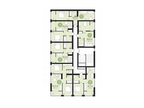 Планировки Жилой комплекс ЕВРОПЕЙСКИЙ БЕРЕГ, дом 22 - Подъезд 7. Планировка 8-10 этажей