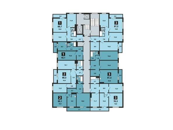 Планировки Жилой комплекс Светлогорский пер, 1 дом, 1 стр - Планировка 2-9 этажей