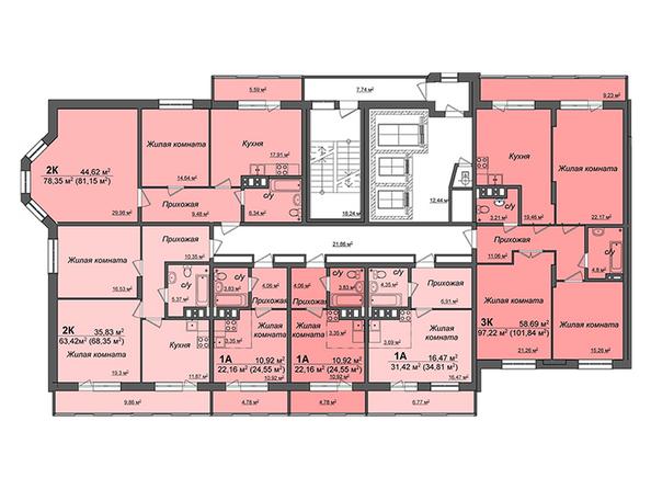 Планировки Жилой комплекс СИБИРЯЧКА - Блок-секция 1. Планировка типового этажа