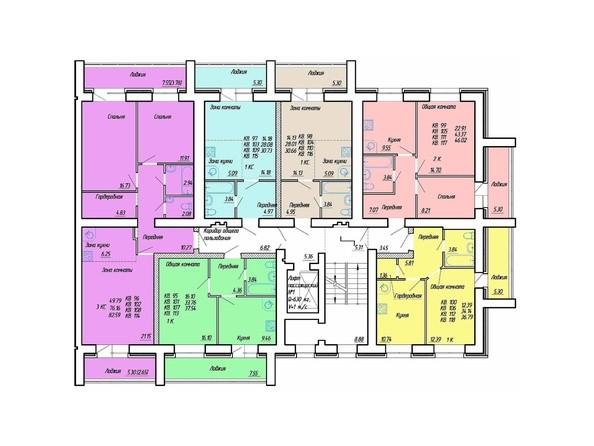 Планировки Жилой комплекс Деповская, 48 - Планировка 6-9 этажей, 2 б/с