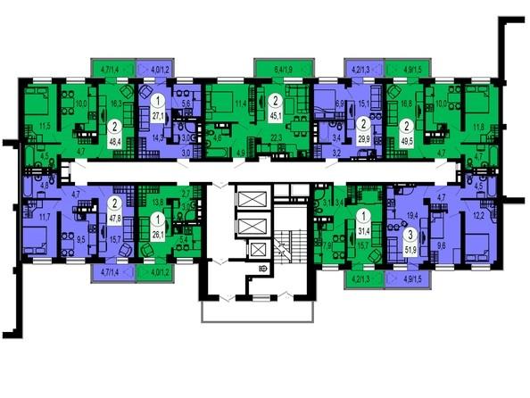 Планировки Жилой комплекс ТИХИЕ ЗОРИ, дом 1 (Красстрой) - Блок-секция 4. Этажи 2-13
