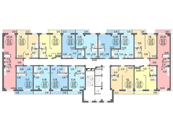 Планировки Жилой комплекс МАТРЕШКИН ДВОР 95/4, дом 1, 1,2 б/с - Блок-секция 1. Планировка 14 этажа