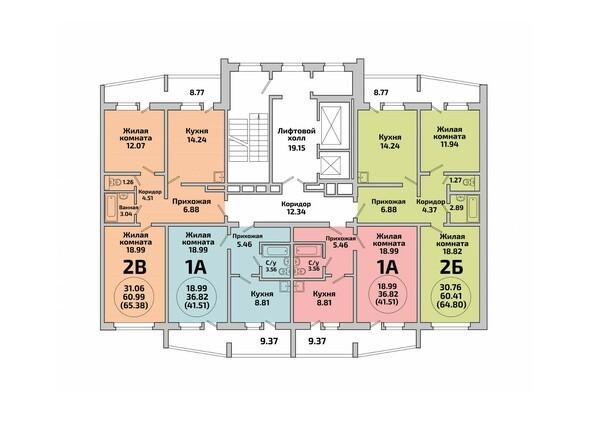 Планировки Жилой комплекс ПРИОЗЕРНЫЙ, дом 1 - Блок-секция 2. Планировка типового этажа