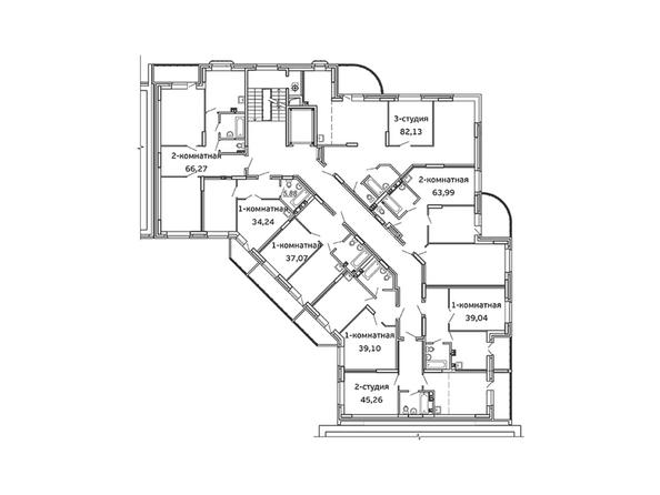 Планировки Жилой комплекс ВЕСЕННИЙ, Заречная 21, дом 2 - Блок-секция 2. Планировка 3-6 этажей