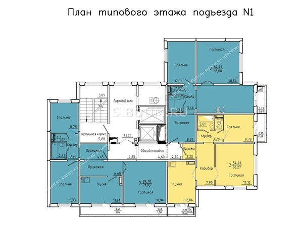 Планировки Жилой комплекс Покровский, 3 мкр, дом 5 - 1 подъезд, 2-14 этажи