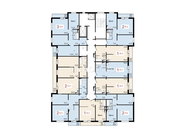 Планировки Жилой комплекс НОВОНИКОЛАЕВСКИЙ ж/к, 2 дом, 3 стр - Планировка 10-16 этажей