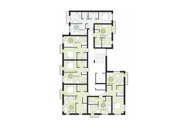 Планировки Жилой комплекс ДУНАЕВСКИЙ, дом 3 - Подъезд 1. Планировка 2-9 этажей