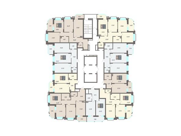 Планировки Жилой комплекс ЛОМОНОСОВ - Планировка 2-17 этажей