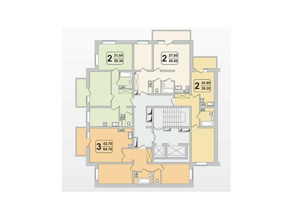 Планировки Жилой комплекс ГРАНД-ПАРК, б/с 1.2 - Планировка 3-9 этажей