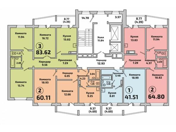 Планировки Жилой комплекс РОДНИКИ, дом 2 - Подъезд 2. Планировка типового этажа