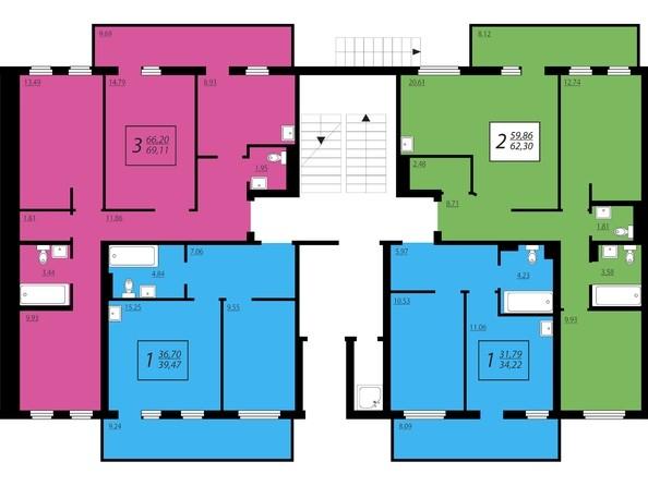 Планировки Жилой комплекс ЖИВЁМ эко-район, 2 квартал, дом 2 - Дом №1. Секция №3. 1 этаж
