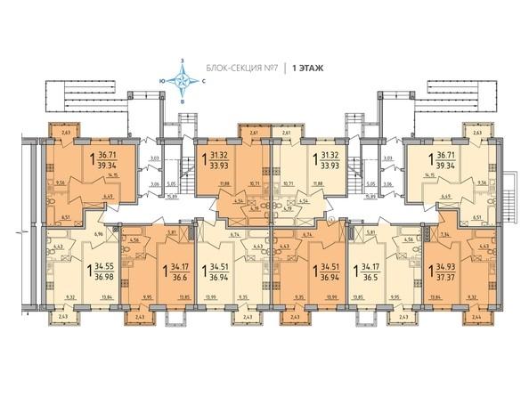 Блок-секция 7. Планировка 1 этажа