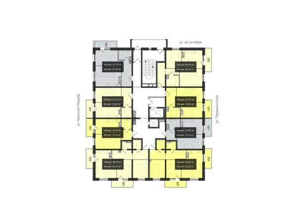 Планировка 3-6 этажей