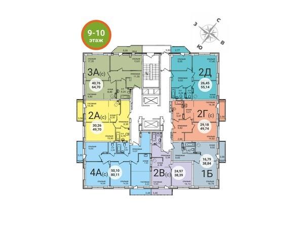 Планировки Жилой комплекс RED FOX (Рэд Фокс), дом 4 - Планировка 9-10 этажей