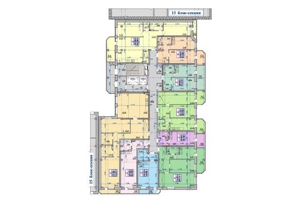 Планировки Жилой комплекс Нарымский квартал (Дом на Плановой), 14-15 б/с - Блок-секция 14. Планировка 2-10 этажей