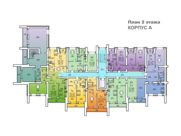 Корпус А. Планировка 2 этажа