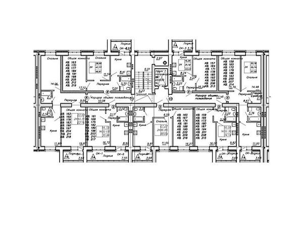 Блок-секция 3. Планировка типового этажа