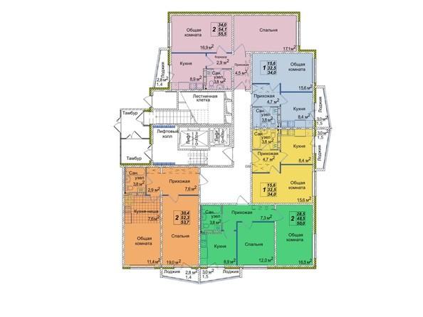 Планировки Жилой комплекс ВОСТОЧНЫЙ, 85/1б - Блок-секция 1. Этаж 1