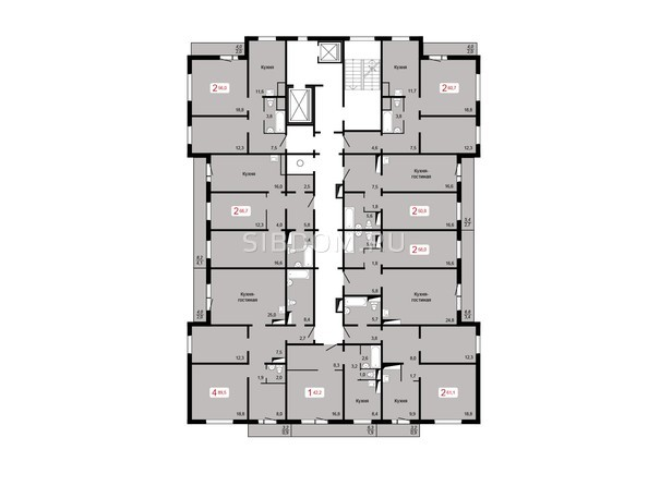 Планировки Жилой комплекс ЛЕСНОЙ МАССИВ, дом 1, стр 8 - Планировка 17 этажа