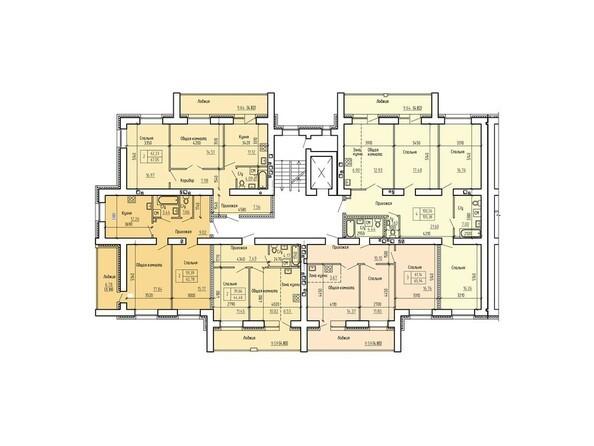 Планировка 2-9 этажей, 2 б/с