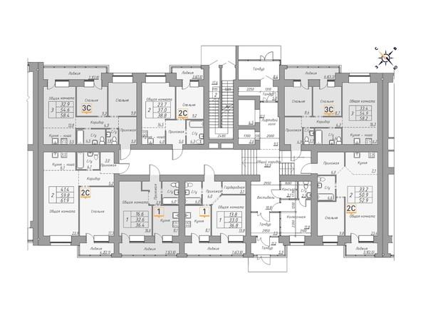 Планировки Жилой комплекс ДВЕ ЭПОХИ, корпус 1 - Планировка 1 этажа, 2 б/с
