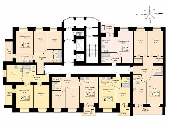 Блок-секция 3. Планировка 16 этажа