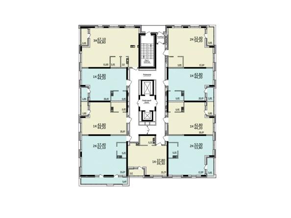 Планировки Жилой комплекс КУЗЬМИНКИ, дом 1 - Планировка 9 этажа