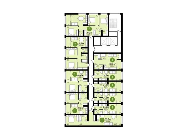 Планировки Жилой комплекс ЕВРОПЕЙСКИЙ БЕРЕГ, дом 22 - Подъезд 1. Планировка 3-11 этажей