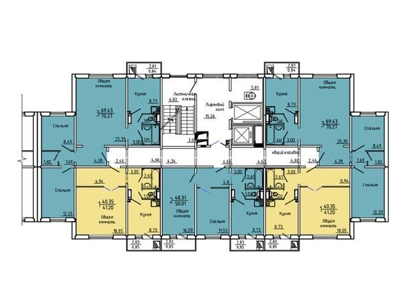 Планировки Жилой комплекс Нанжуль-Солнечный мкр, дом 5 - Подъезд 1. Планировка 15-16 этажей