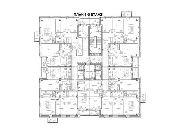 Планировки Жилой комплекс ВРЕМЕНА ГОДА, 1 дом - Планировка 3-5 этажей