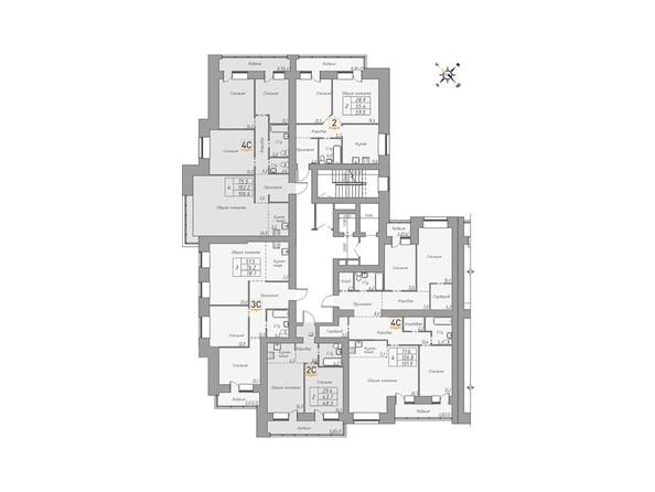 Планировки Жилой комплекс ДВЕ ЭПОХИ, корпус 1 - Планировка 8-13 этажей, 3 б/с