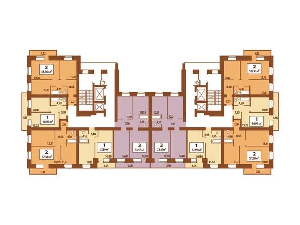 Планировки Жилой комплекс Мужества, дом 12  - Типовая планировка 4-13 этажей