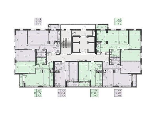 Планировки Жилой комплекс НА ВЫСОТЕ, 2 этап - Планировка 17, 19, 21, 23 этажей