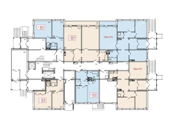 Планировки Жилой комплекс КУРЧАТОВА, дом 6, стр 2 - Планировка 1 этажа